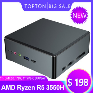 TOPTON дешевый мини ПК AMD Ryzen R5 3550H R7 2700U Vega Graphic 2 * DDR4 игровой компьютер Windows 10 4K HTPC HDMI2.0 DP TYPE-C