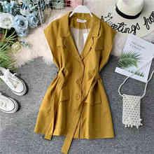 NiceMix Summer Autumn Casual Dresses Women Mini Dress Sleeveless Notched Elegant Office Lady Vestidos Verano 2019