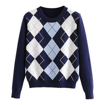 Women Sweater Diamond-Shaped Tops Sweater Tops Pullover Autumn  Lattice Women Pullover Sweater Cute British Style Sweater Top 2