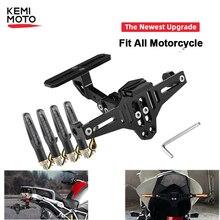 Universal Motorcycle License Plate Holder Frame Bracket LED Light For Honda CB599 919 400 CBR600 For Yamaha MT09 MT07 R1 R1200GS