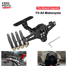 Universele Motorcycle Kentekenplaathouder Frame Beugel Led Licht Voor Honda CB599 919 400 CBR600 Voor Yamaha MT09 MT07 R1 r1200GS