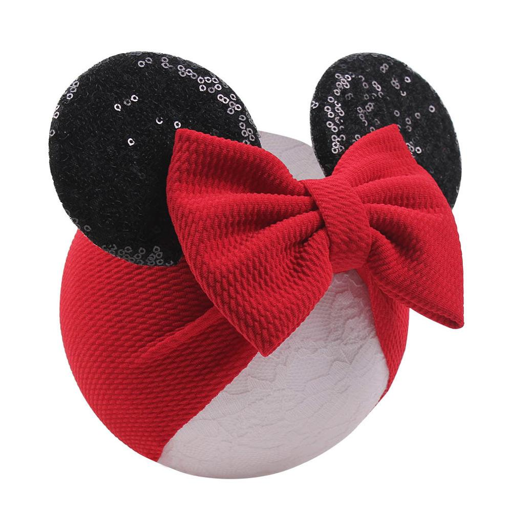 2019 Spring / Summer Infant Beanie Turban Hat Baby Minnie Mouse Ears Hairband With Sequin Hair Bows Photography Props Cap