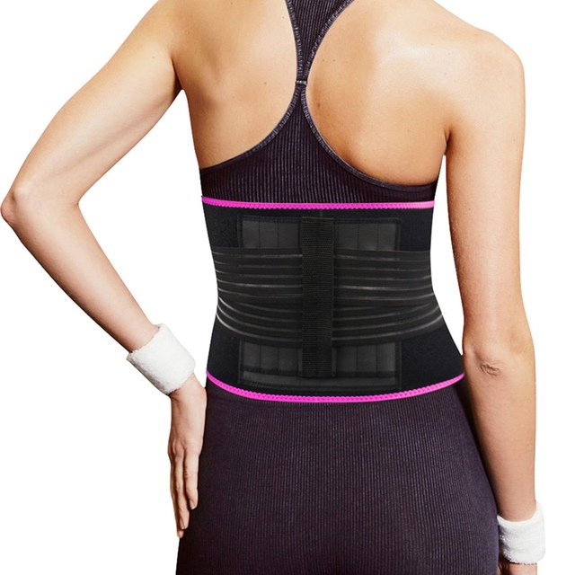 woman Adjustable Elastiac Waist Support Belt Lumbar Back Sweat Belt With Pocket Fitness Belt Waist Trainer Warmer Protection 4
