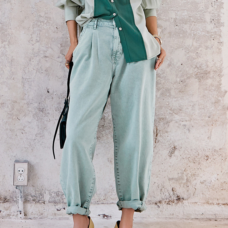 LANMREM 2020 Spring And Spring New Fashion Solid Color High Waist Loose Cotton Street Jeans Women PB755