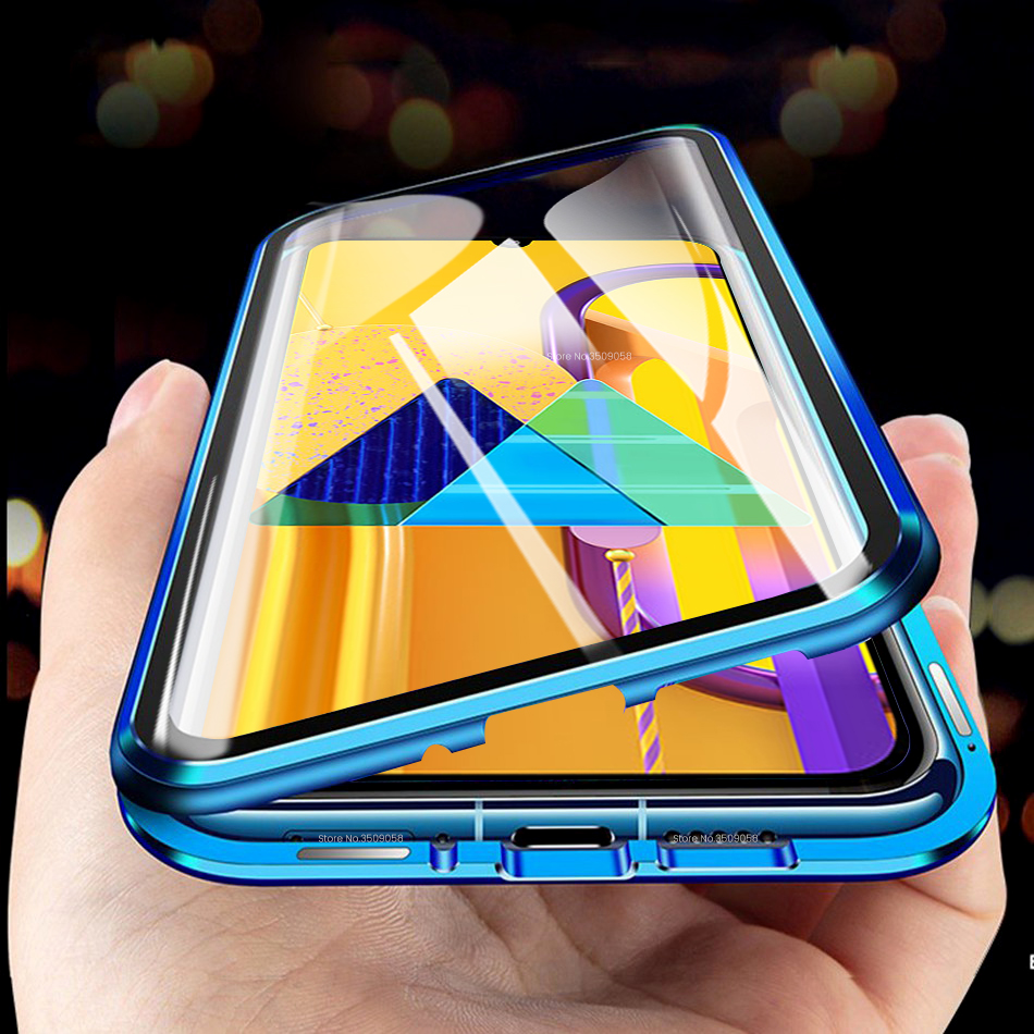 360° Full Magnetic Metal Flip <font><b>Case</b></font> For <font><b>Samsung</b></font> Galaxy <font><b>M30s</b></font> Double Sided <font><b>Glass</b></font> Protective <font><b>Case</b></font> M 30s M307F 6.4'' Shockproof Cover image