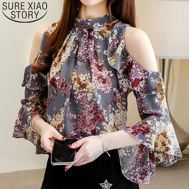 2019 Womens Blouses And Tops Short Sleeve Butterfly Sleeve O-neck Women Clothing Elegant Female Tops  Long Sleeve Floral 5388 50