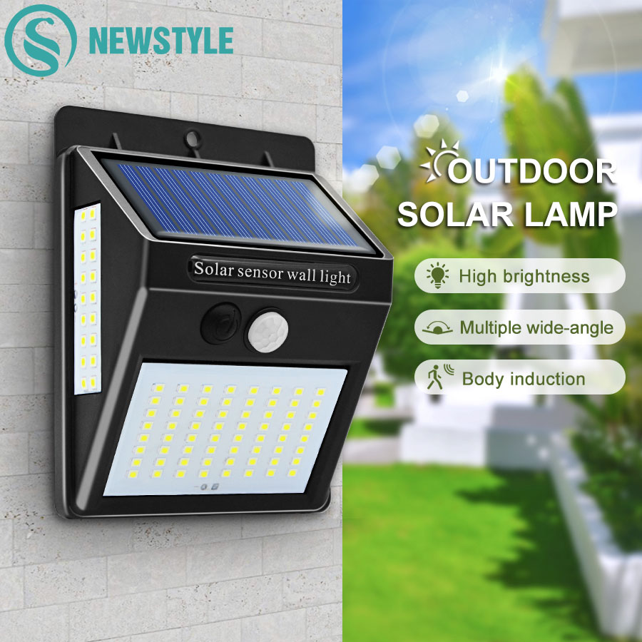100 LED Solar Power PIR Motion Sensor Waterproof Wall Light Outdoor Garden Lamps