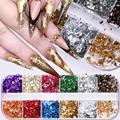 Цвета: золотистый, серебристый Фольга красочные бронзовая 3D кукурузных хлопьев наклейки для ногтей металлический полное покрытие ногтей п...