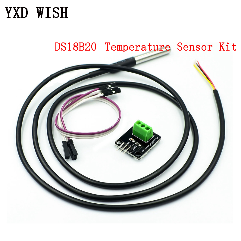 <font><b>DS18B20</b></font> <font><b>1M</b></font> Temperature Sensor Module Kit Waterproof Digital Sensor Cable Stainless Steel Probe Terminal Adapter For Arduino image