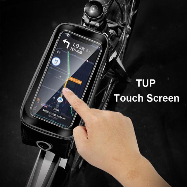 Wild man bolsa de bicicleta à prova de chuva, quadro frontal superior, refletor 6.5in, estojo para celular, touchscreen, acessórios para bicicleta mtb 4