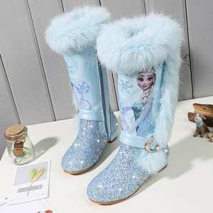 Girls Boots Snow-Shoes Over-The-Knee-Boots Pink Elsa Blue Kids Winter Princess Children's