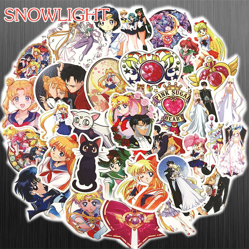 50pcs/pack Sailor Moon Cartoon Classic Style Graffiti Stickers For Moto Car & Suitcase Cool Laptop Stickers Skateboard Sticker