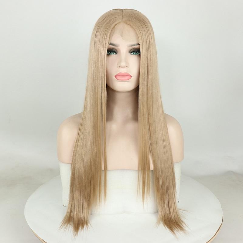 13X6 синтетический японский 613 светлый парик спереди, волосы 180% медовый блонд прямые наращивания
