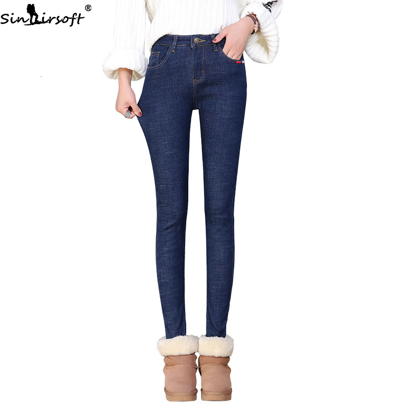 Autumn And Winter New Thin Elastic Embroidery Plus Velvet High Waist Jeans Woman Wild Tight-fitting Denim Trousers Women image