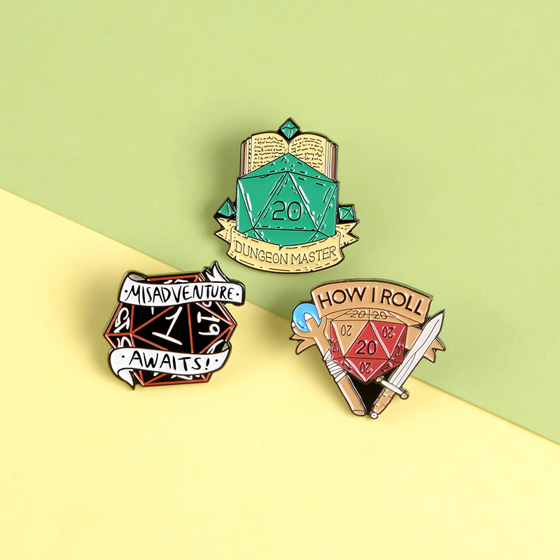 D&D Master Game Punk Enamel Pins Gem Props Raiders Weapon Brooches Badges Bag Clothes Lapel Pins Jewelry Gifts For Game fans