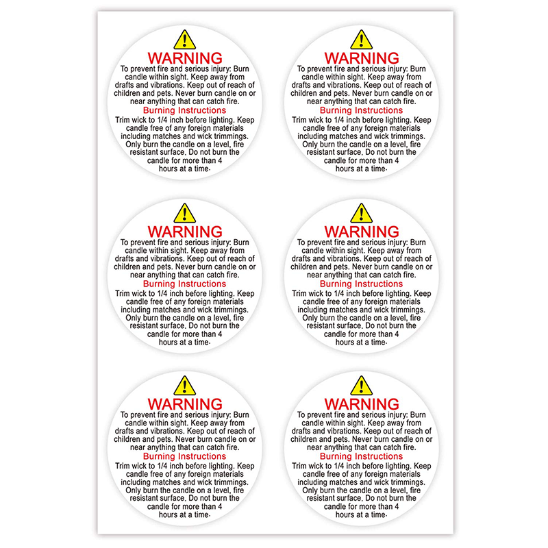 Candle Warning Label Sticker 3 Inch Round Candle Jar Container Label Waterproof Candle Safety Label Sticker