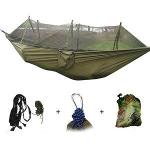 Image 1 - Camping Hammock Mosquito Net Portable Outdoor Garden Travel Swing Canvas Stripe Hang Bed Hammock 260*130cm