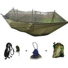 Hamak kempingowy moskitiera przenośna ogrodowa huśtawka podróżna płótno pasek wieszane łóżko hamak 260*130cm