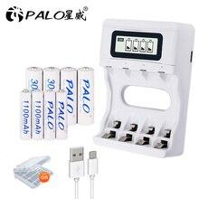 Bateria recarregável de nimh ni mh ni mh + carregador inteligente do lcd da carga rápida de usb palo 4 pces aa 2a 3000 mah + 4 pces aaa 3a 1100 mah