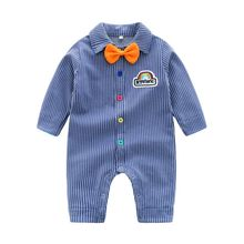 1-4T Spring Autumn Casual Jumpsuits Baby Boy Striped Printing Long Sleeve Rompers Kids New