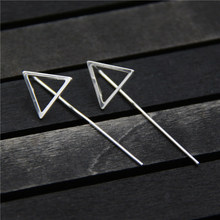 925 Silver Triangle Earring 43mm Long 100% S925 Sterling boucle doreille Drop Earrings for Women Jewelry 14*43mm TYC209