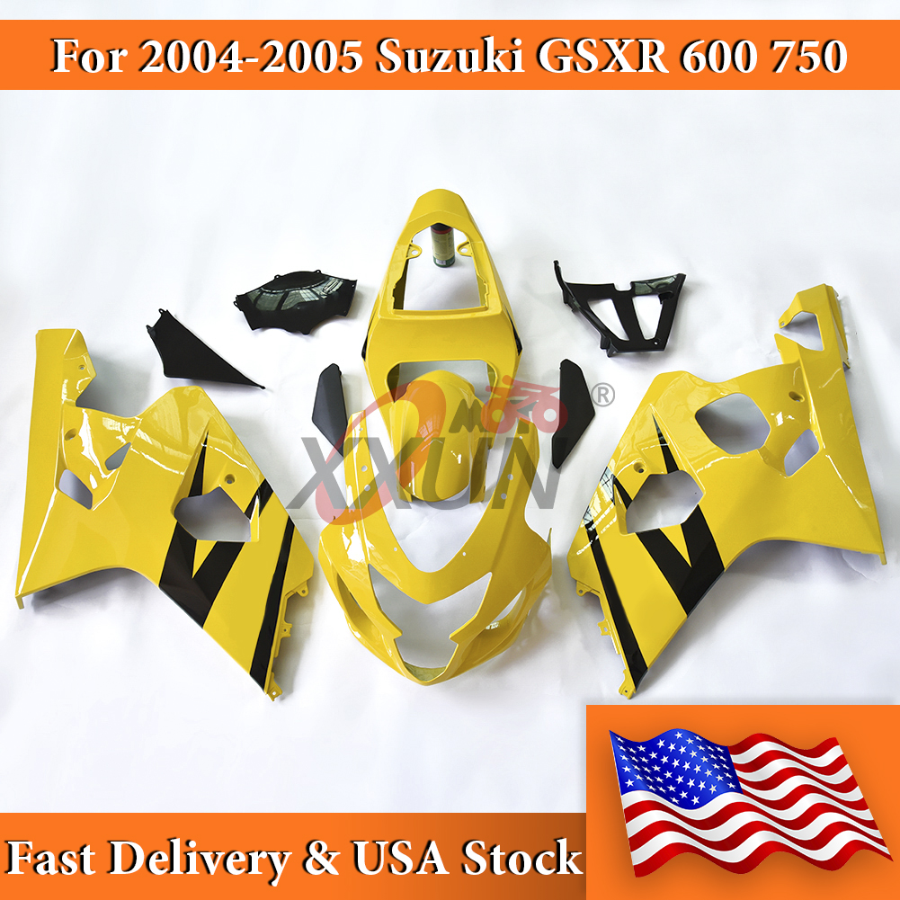 Yellow Black Complete Injection <font><b>Fairing</b></font> Bodywork <font><b>Kits</b></font> For 2004-2005 <font><b>Suzuki</b></font> GSX-R <font><b>GSXR</b></font> <font><b>600</b></font> 750 GSXR750 GSXR600 Motorcycle Parts image