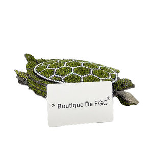 Image 5 - Boutique De FGG Novelty Diamond Turtle Minaudiere Evening Bags for Women Formal Wedding Party Crystal Clutch Purses and Handbags