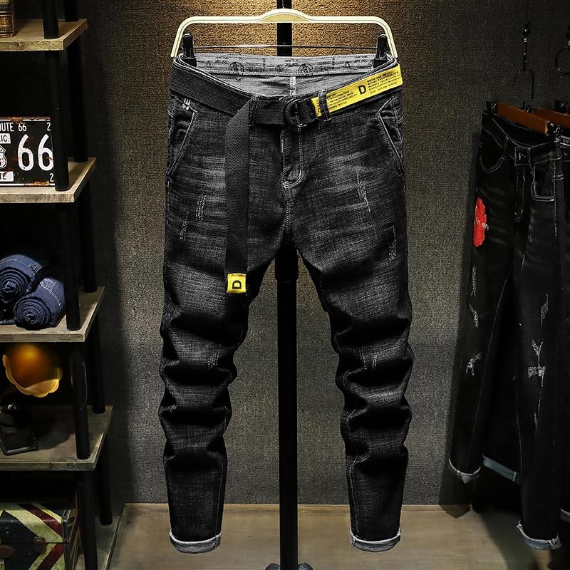 POVOTE Spring 2020 New Black Jeans Men's Slim Youth Elastic Personality Small Leg Pants Men's Korean Trend
