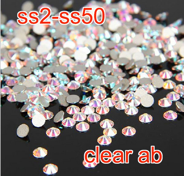 Top qualité Super brillant cristal AB ss2-ss50 non hot fix flatback strass Nail Art Décoration cartes faisant strass verre pierre