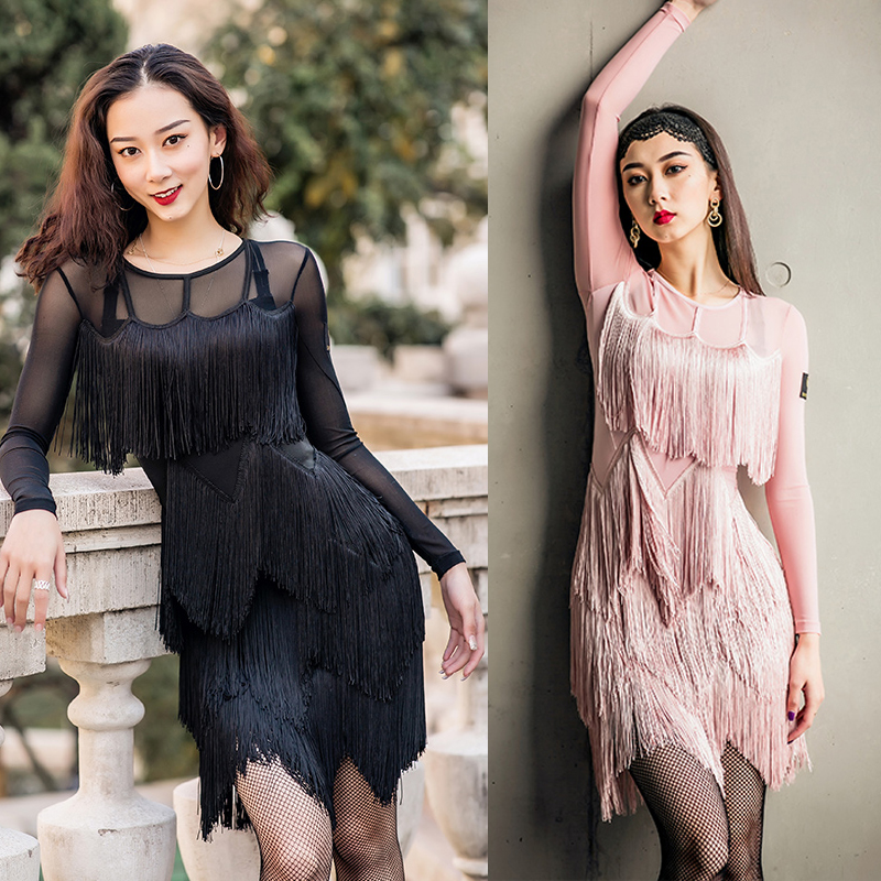 Fluttering Fringe Dress For Women Latin Dance Dress Black Long Sleeves Clothing New Competition Dresses Latin Rumba Party Outfit
