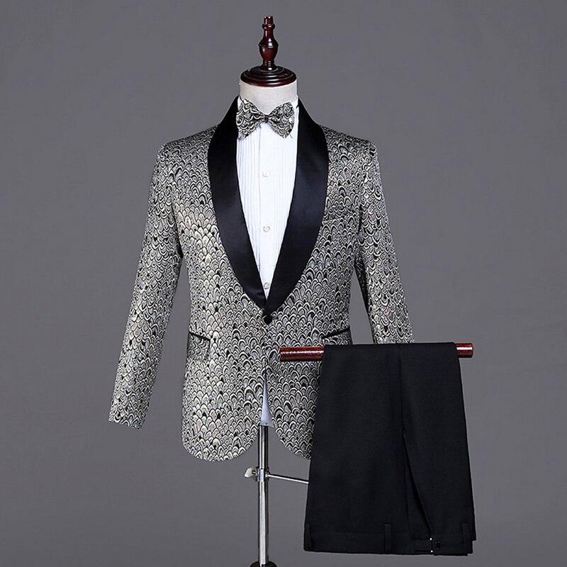 (Jacket + Pants + Bow Tie) Men's Three-Piece Suit Stage Suit Wedding Dress Shiny Print Suit Male Fashion Slim Suits Wedding Sets