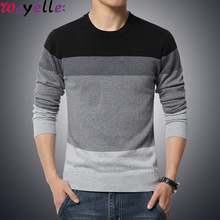 Mens Sweater Pullovers 2019 Autumn Casual O-Neck Striped Slim Fit Knitted Men Simple Basic M-3XL
