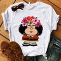 Футболки в уличном стиле, с круглым вырезом для девочек; Доступно в белом и Mafalda футболка женская летняя обувь Harajuku Повседневная футболка с к...