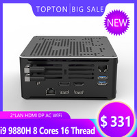 TOPTON Intel Mini PC Core i5 i7 i9 9880H 2 Intel Lan Windows 10 2*DDR4 64GB 2*M.2 PCIE Micro PC Mini Computer 4K HTPC DP HDMI2.0