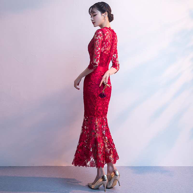 Dress For Toast Bride 2019 New Style Marriage Engagement Back Door-Style Fishtail Explicit Thin Long Formal Dress Women's Summer