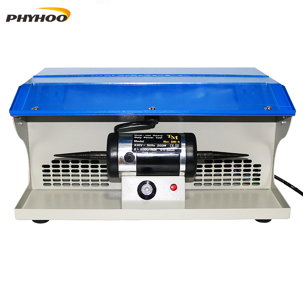 PHYHOO DM-5 Polishing Buffing Machine With Dust Collector Bench Jewelry Polisher Multi-Use Heavy Duty Power Tool 8000RPM