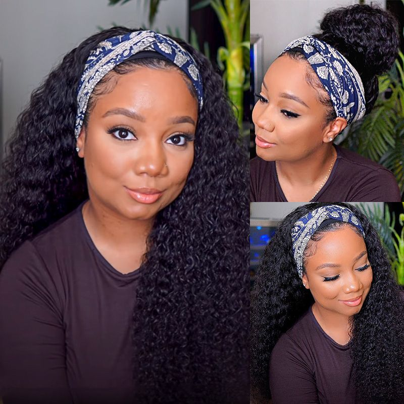 YYong Jerry Curl Headband Wig Natural Color    Headband Wigs With Scarf Glueless Wig for Women 8-24inch 3