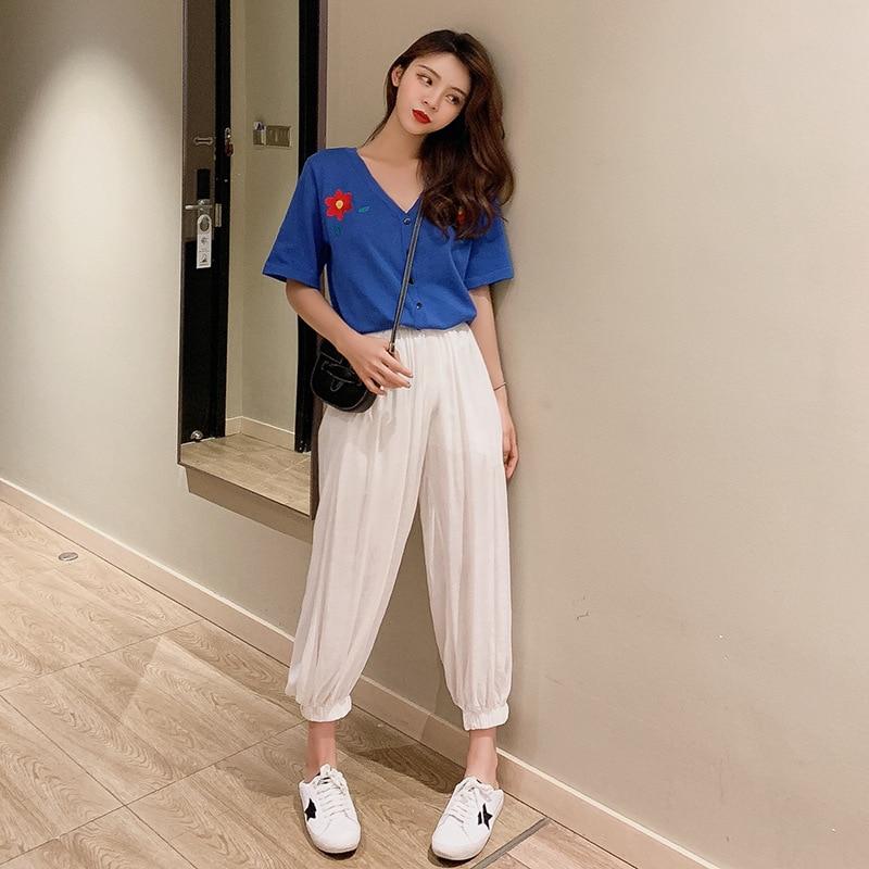 Korean-style Flower Embroidered V-neck Short Sleeve Cardigan Shirt + High-waisted Beam Leg Casual Pants Fashion Set