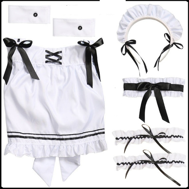 QWEEK Kawaii Maid Dress Lolita Maid Outfit Cute French Maid Cosplay Costumes Uniform Japanese Puff Sleeve Bandage Dress Waitress 6