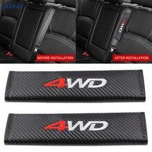 Nstar 2pcs/pair 4WD Carbon Fiber Car Interior Seat Belt Cover Auto Styling Shoulder Pad For Toyota Highlander Decoration 039