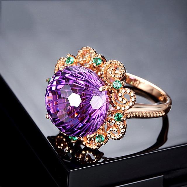 Vintage scultura di cristallo viola ametista pietre preziose anelli di diamanti per le donne 14k rosa color oro gioielli bijoux regalo del partito di modo