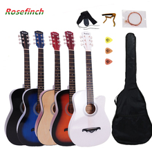 38/41 inch Guitar Folk Acoustic Guitar, 6 string Basewood Guitar With Backpack  Pick Capo Strap, Beginners Guitarra AGT16