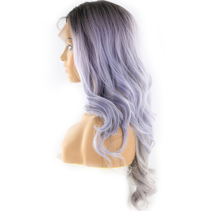 Image 3 - Lace Front Synthetic Wigs With Baby Hair Heat Resistant Fiber Wig X TRESS Ombre Brown Long Wavy 13x4 Lace Wig Middle/Free Part