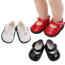 18 inch Girls doll shoes Leather shoes with buckles and round tips PU American newborn shoe Baby toys fit 43 cm baby dolls s40 18 inch girls doll shoes winter woolen slippers casual shoe american newborn accessories baby toys fit 43 cm baby dolls s129