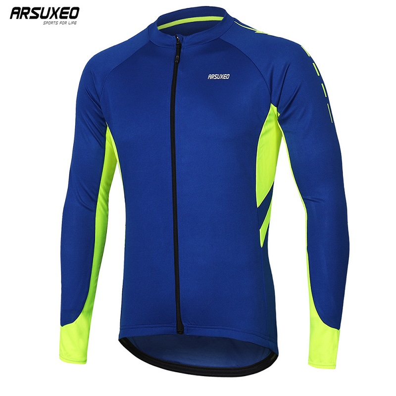 ARSUXEO Men's  Long Sleeve Cycling Jersey Quick Dry Bicycle  Shirts Full Zipper Mountain Bike Jerseys MTB Clothing Wear 6030