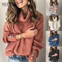 YELITE 2019 Winter Turtleneck sweater women solid Lantern sleeve kintwear Lady casual Rivet sleeve Pullover Tops streetwear 5XL