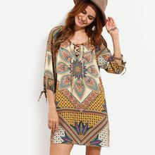 2019 New Yfashion Women Retro Style Printing Large Size Loose Dress