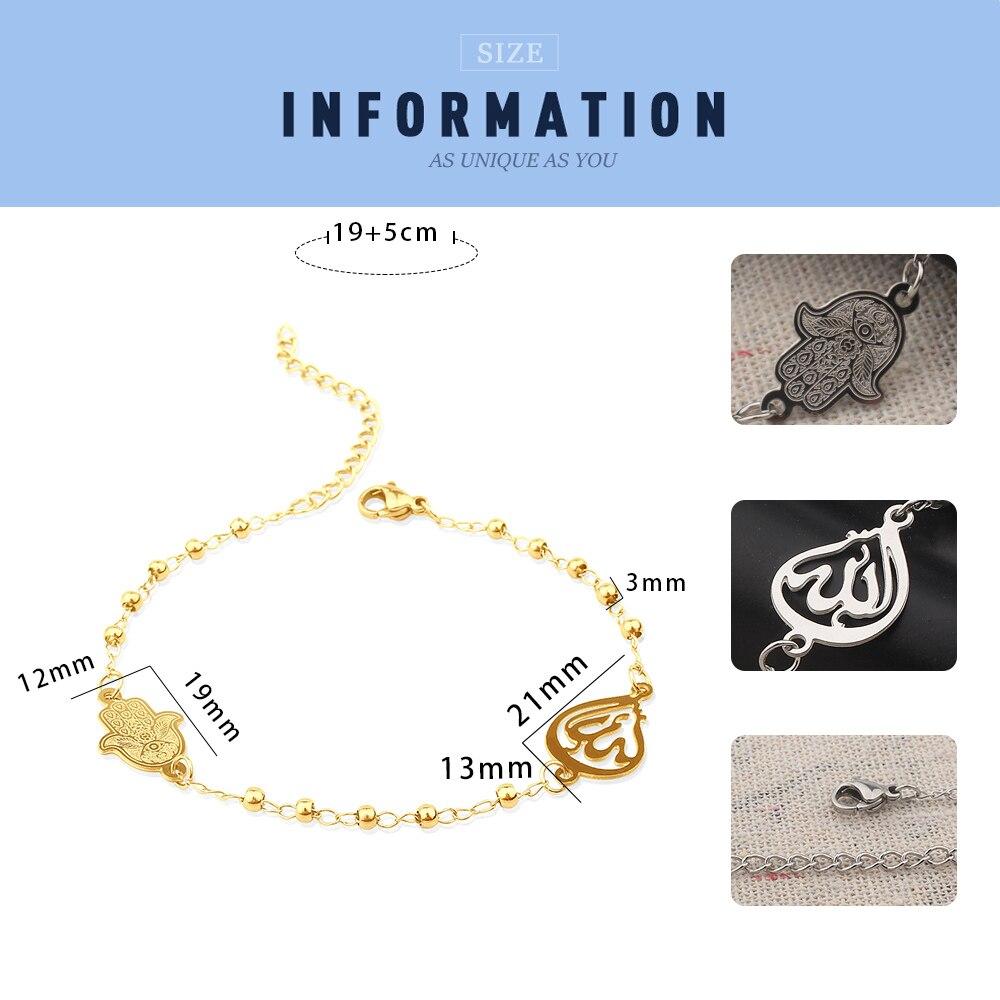 FINE4U B228 Stainless Steel Muslim Hamsa Charms Bracelet 3mm Gold Color Beads Bracelets Islam Koran Rosary Jewelry For Women