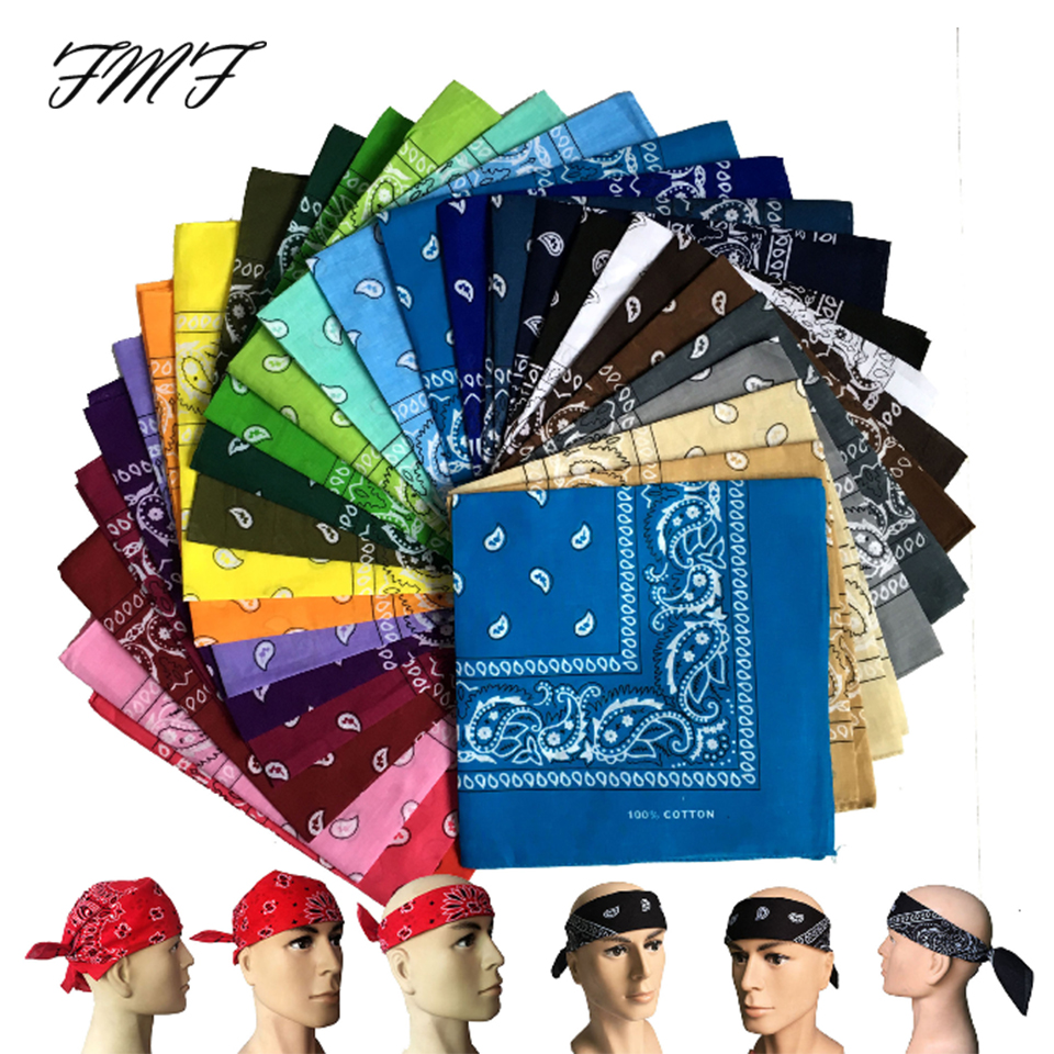 55cm*55cm Unisex Black Bandana Fashion Headwear Hair Band Neck Scarf Wrist Wraps Square Scarves Print Handkerchief Dropshipping