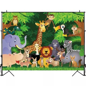 Image 2 - Laeacco Jungle Party Photophone Tropical Forest Trees Animals Photography Backdrops Photo Backgrounds Baby Birthday Photocall